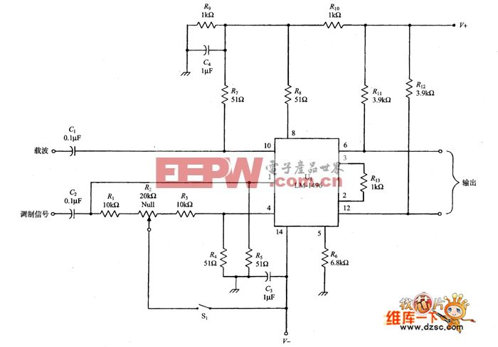 基于LM-1496的SSB调制器电路图