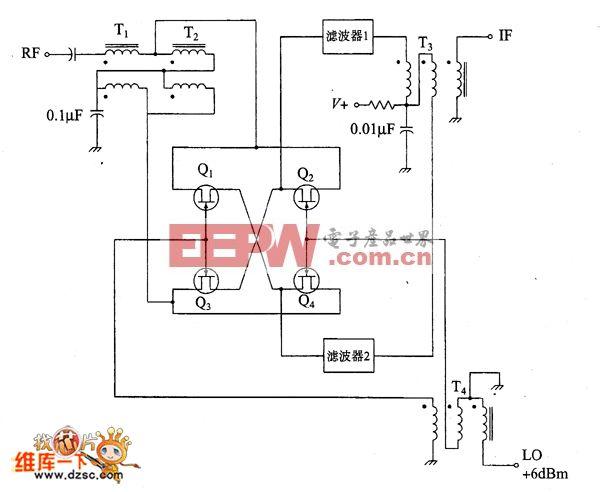 JFET双平衡混频器电路图