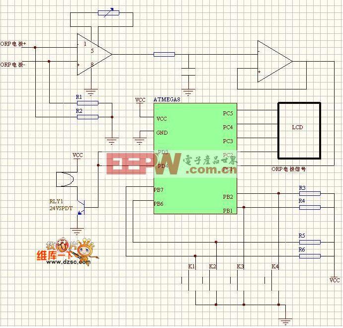 氧化还原法水中臭氧浓度监测仪的硬件电路图