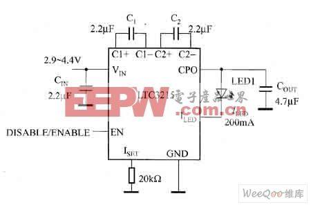 可构成高电流白光LED驱动器电路图
