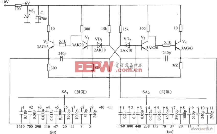 关于脉冲宽度分档调节的无稳态电路图