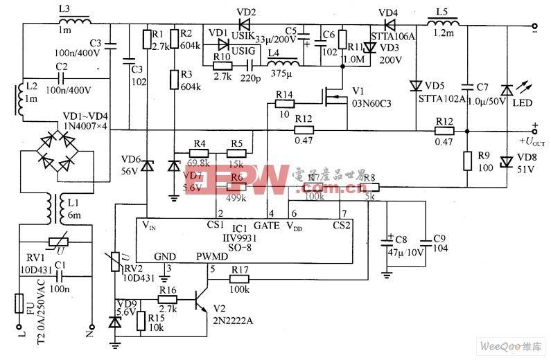 实现700mA电流的单级PFC高亮度LED驱动器电路图