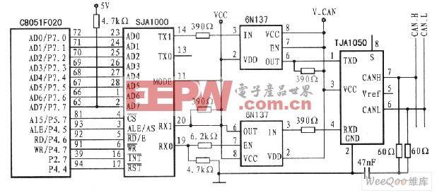 单片机与SJA1000 CAN控制器接口电路图