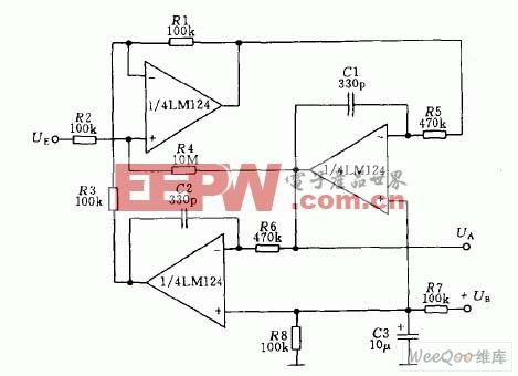 有源双二阶低通滤波器电路图