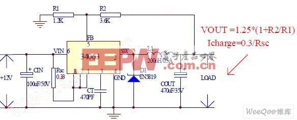 单片34063实现的低端车充方案电路图