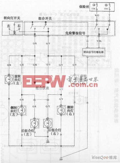 长安之星多功能车转向信号灯电路图
