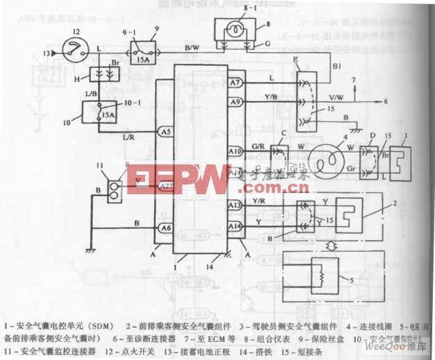 长安羚羊轿车气囊系统电路图