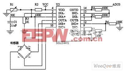 基于BP01型压力传感器的血压传感电路图