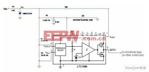 具有可调温度限制和可编程滞后电压的低成本散热保护电路图