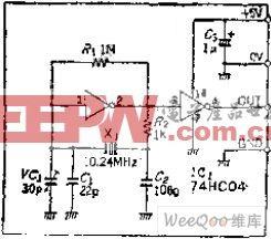 采用C-MOS转换器的石英晶体振荡电路图