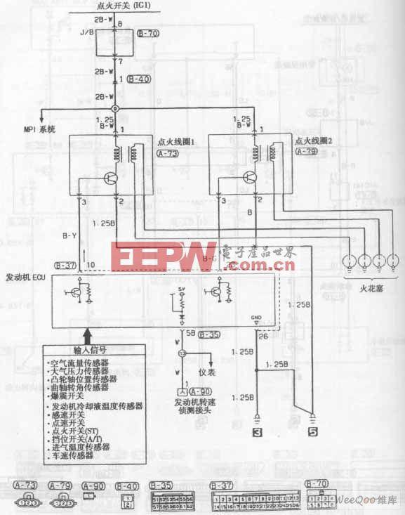长安奥拓轿车发动机点火系统电路图高清图片