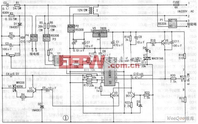 这块电路板电路简单,成本不高,制作容易,电路作简单分析:220V交流电经变压器T降压,P2整流,V5稳压得到9V直流电压,为四运放集成芯片LM324(点击查看:四运算放大器芯片LM124/LM224/LM324中文资料)提供工作电源。P1整流输出是提供直流电机励磁电源。P4整流由可控硅控制得到0-200V的直流,接电机电枢,实现电机无级调速。R1,C2是阻容元件,保护V1可控硅。R3是串在电枢电路中作电流取样,当电机过载时,R3上电压增大,经D1整流,C3稳压,W1调节后进入LM324的12脚,与13