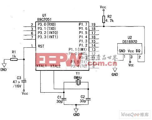 DS18B20和51单片机AT89C2051的接口电路图