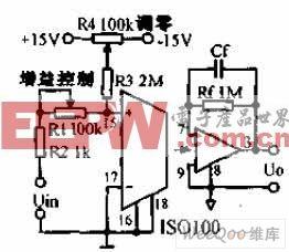 增益可调的测试设备隔离放大器电路图