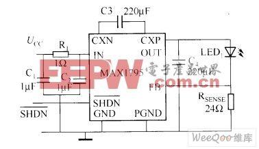 由电荷泵构成的白光LED电流控制电路图