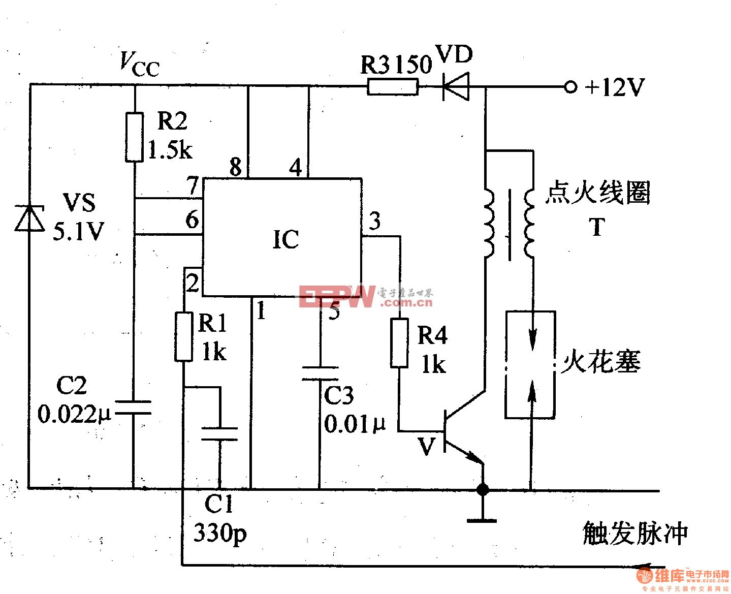 "IC与电阻器Rl、R2和电容器Cl-C3等组成单稳态电路。   +l2V电压先经一极管VD和R3降压限流后,再经VS稳压为+5lV(Vcc),作为lC的工作电压。   在刚接通电源时,IC的3脚输出低电平,V截止,点火电路不工作。当IC的2脚有负脉冲信号输人时,单稳态电路被触发翻转,由稳态变为暂态,IC的3脚输出高电平,使V导通,点火线圈T中有电流流过。与此同时,IC内却的放电管截止,+51V(Vcc)电压经电阻器RZ向电容器C2充电,使IC1的6脚、7""脚电压上升,当C2两端电压上升至2忆c/"