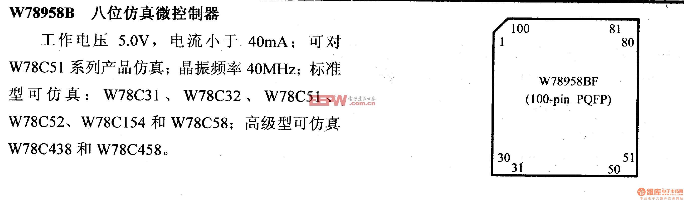 芯片引脚及主要特性W78958B 八位仿真微控制器
