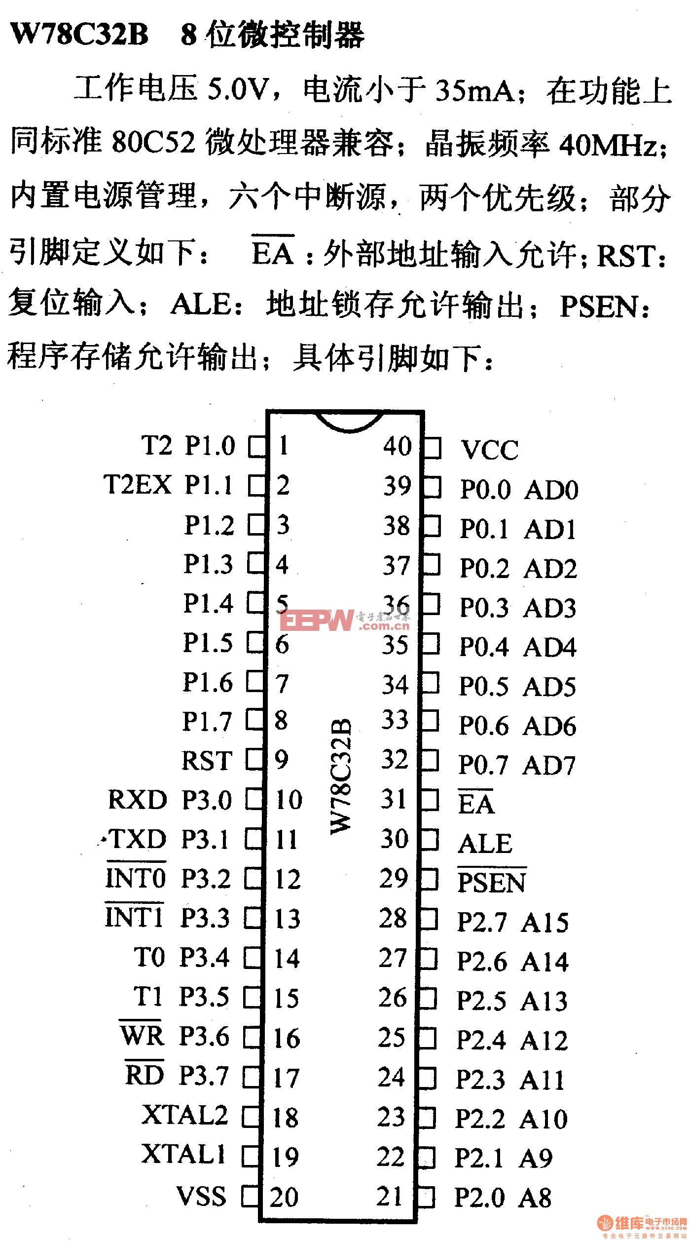 芯片引脚及主要特性W78C32B 八位仿真微控制器
