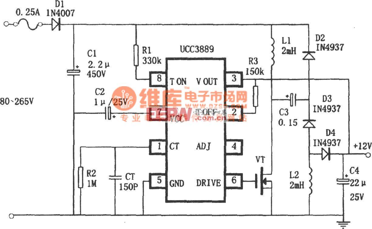 UCC3889组成的非隔离12V直流稳压电源 2007-7-12
