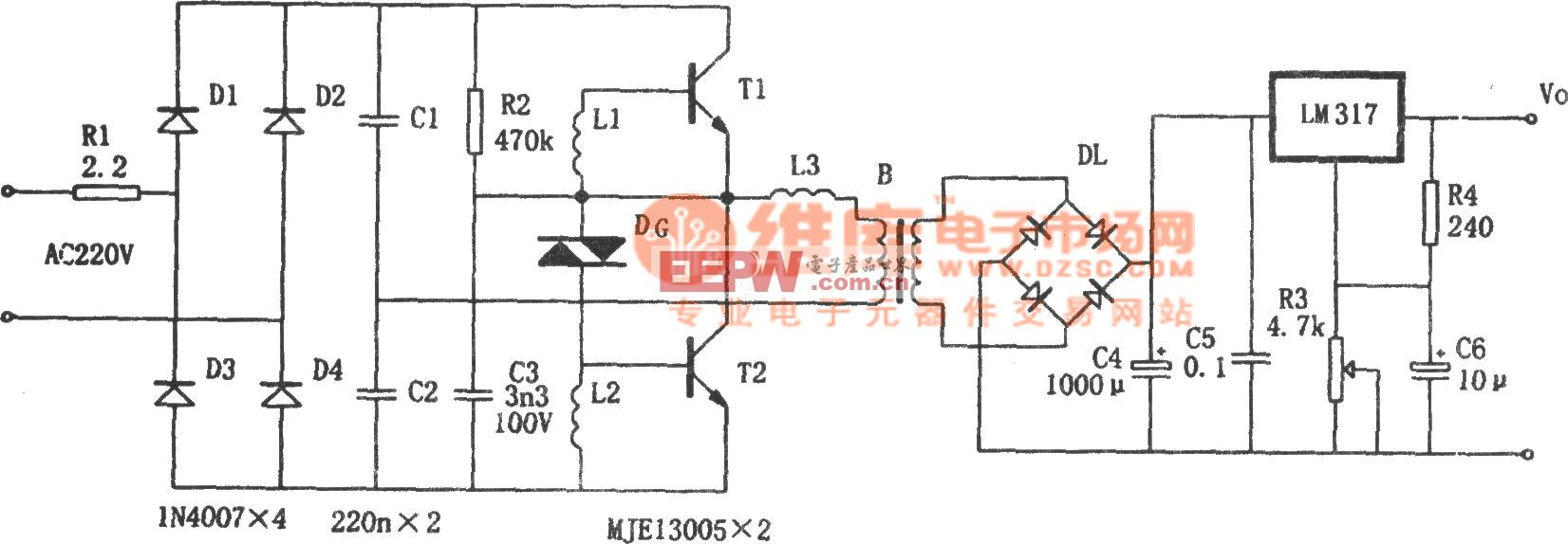 LM317构成的电子变压稳压电源