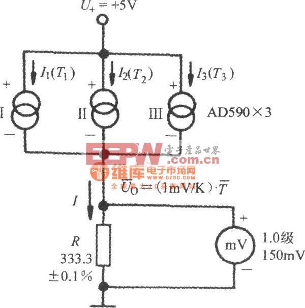 由AD590(电流输出式精密集成温度传感器)构成的测量平均温度的电路