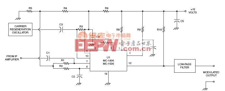 射频Demodulator电路:MC-1495 Product detector circuit