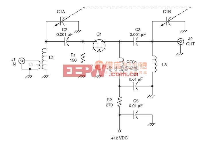 射频Amplier电路:Common base JFET RF amplifier circuit