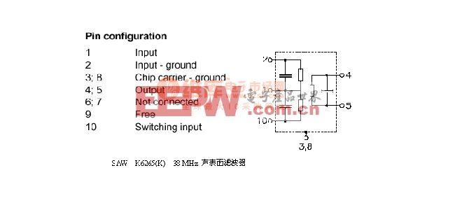 saw k6265(K) 38MHZ 声表面滤波器