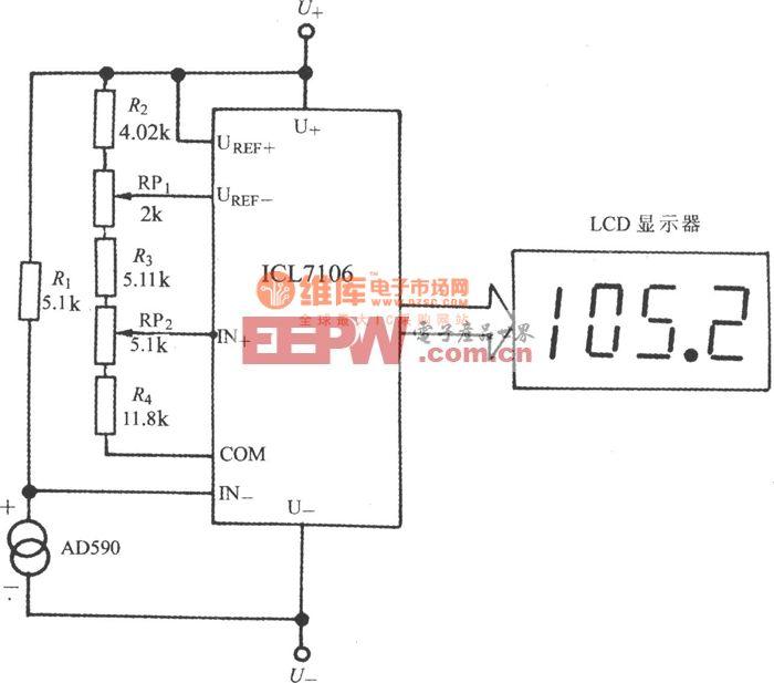 由电流输出式精密集成温度传感器AD590构成的数字温度计