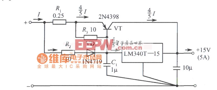 LM340T-15构成的15V、5A稳压电源电路图