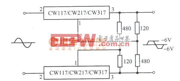 CW117组成的交流峰值削波电路图