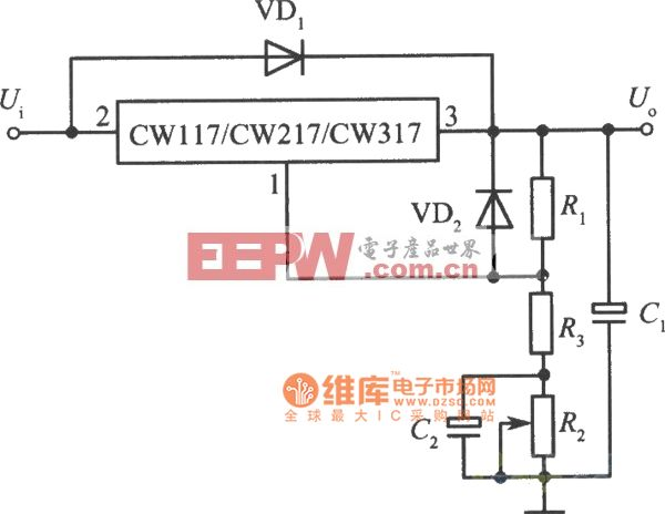 高精度高稳定性的+10V集成稳压电源电路图