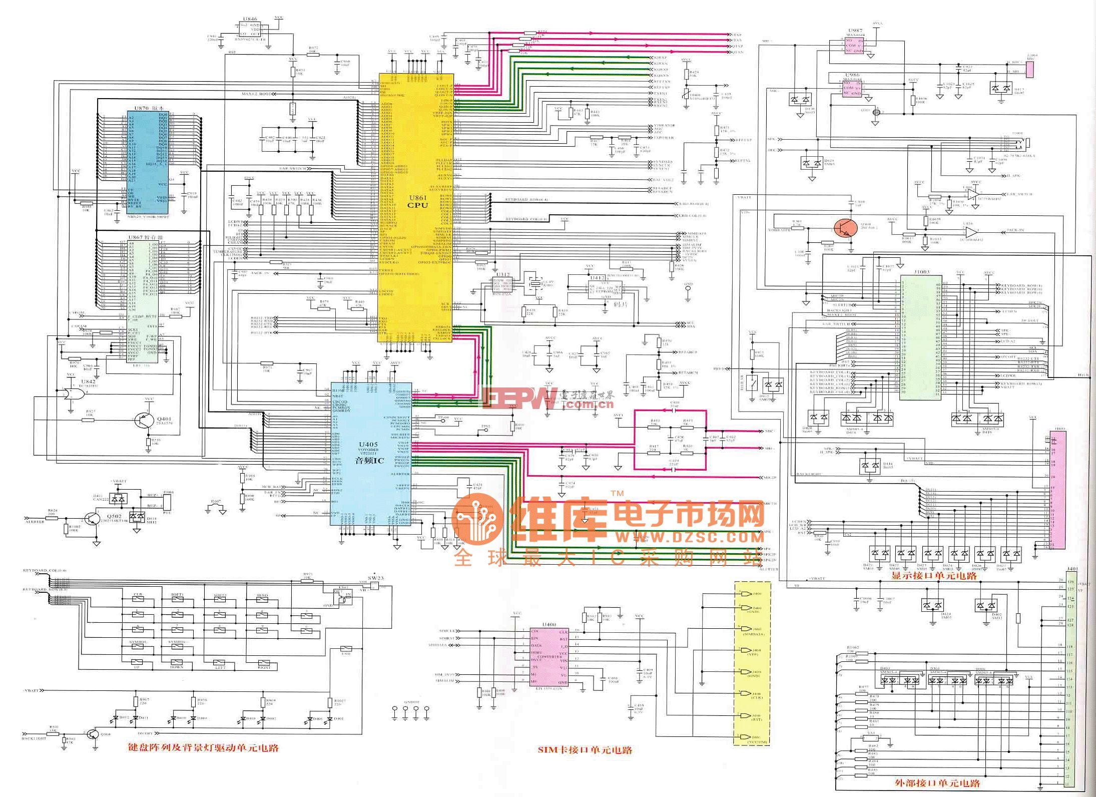 三星SGH-800型手机逻辑电路原理图