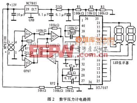 基于MPX2100的数字压力计电路图