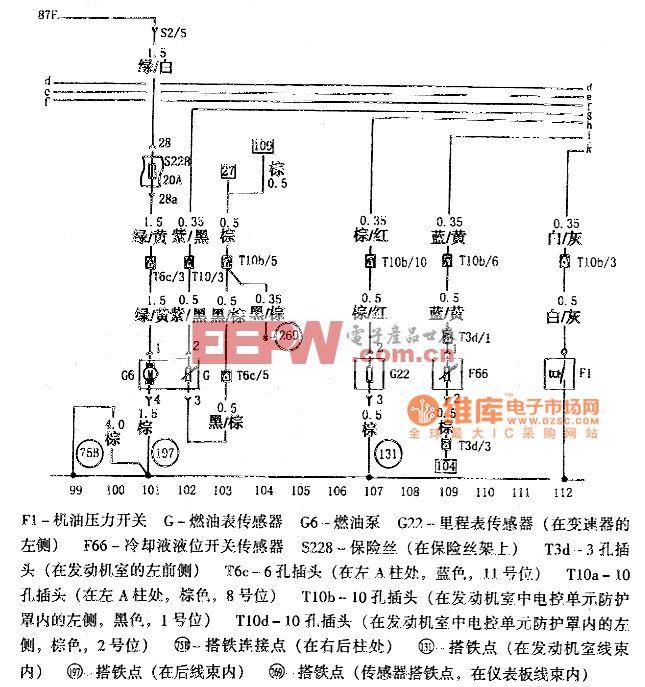 帕萨特机油压力开关、燃油泵、燃油表传感器、里程表传感器、冷却液位开关传感器和机油状态传感器电路图