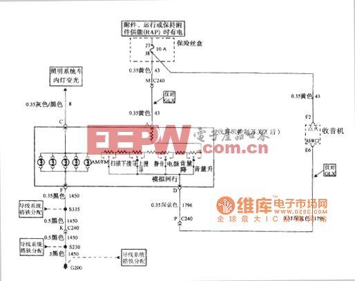 别克GL8汽车收音机音响系统电源 搭铁和收音机控制开关后电路图高清图片