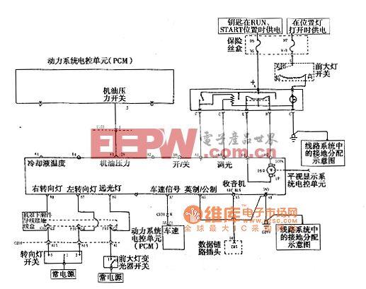 上海通用君威轿车2.0L超视距抬头显示系统电路图