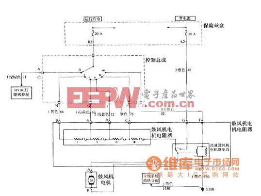 别克GL8汽车HVAC控制总成 鼓风机电机电阻器和鼓风机C60电路图高清图片