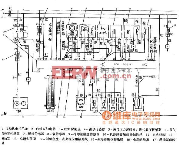 桑塔纳2000系列M1.5.4发动机电路图