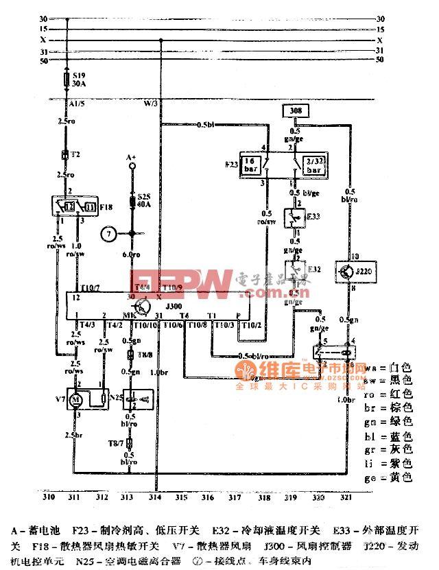 捷达电磁离合器压力开关、散热器风扇5V发动机电路图