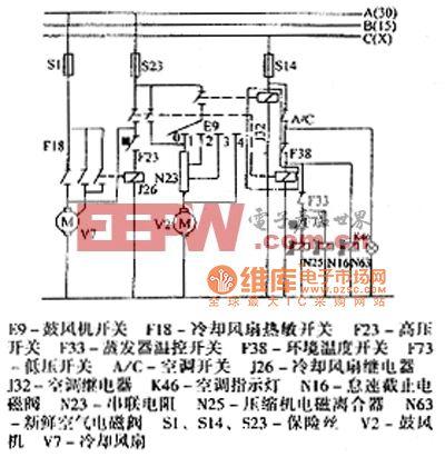 >桑塔纳 2000(汽油喷射发动机)轿车空调(续)电路配线电路