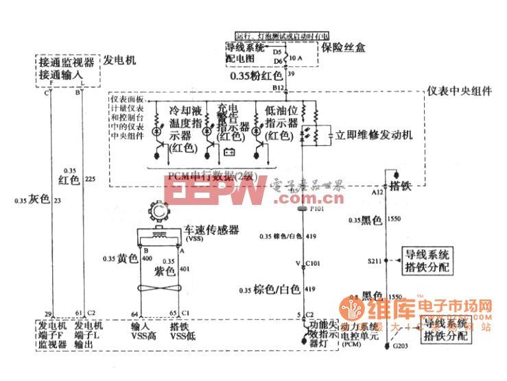 别克 GL8发电机 仪表板信号和车速传感器电路图图片