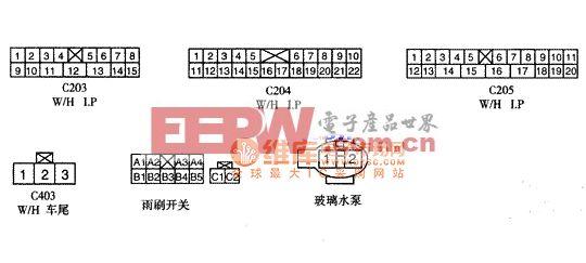大宇FRT及RR雨刷电机插头模样及单子编号电路图