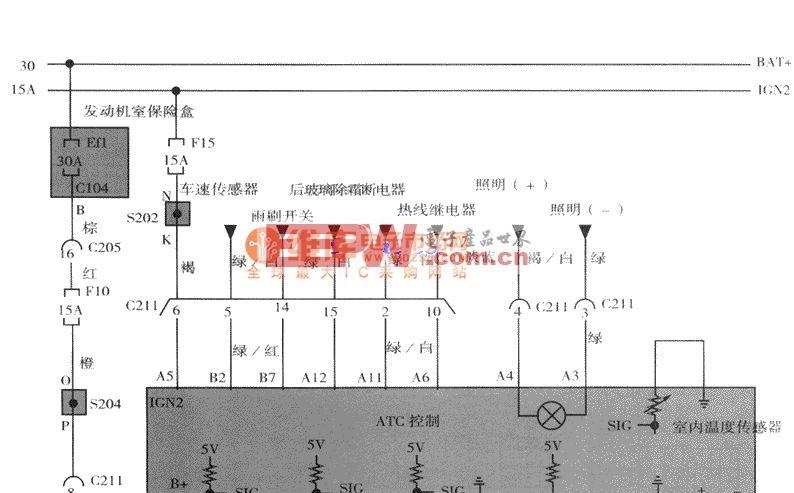 大宇出风提板电机,传感器(外气,日射,水温)电路图