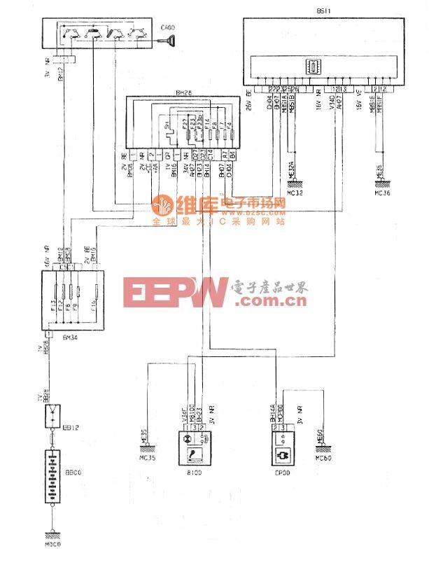 神龙2.0L轿车点烟器/附件插头电路图
