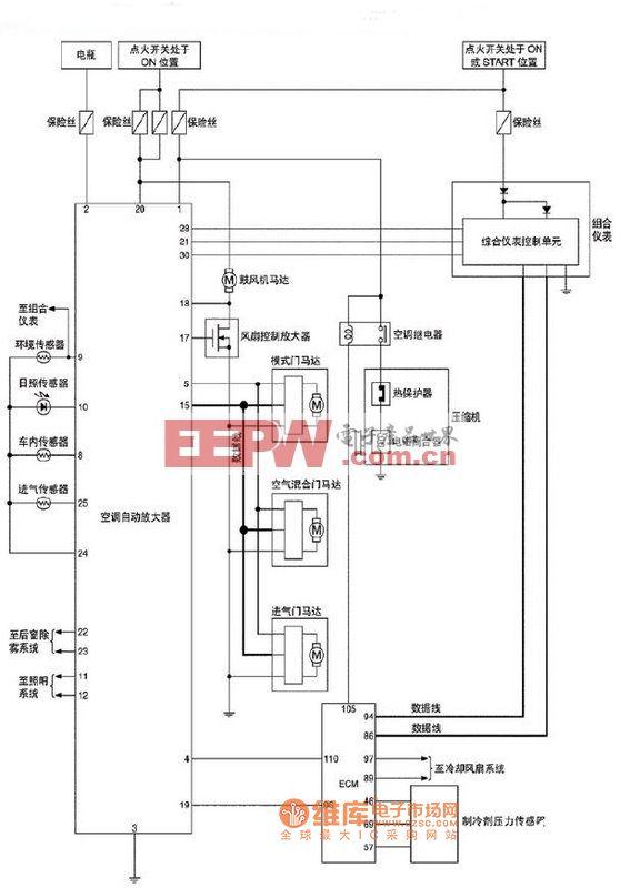 T30空调系统汽油发动机车型电路图图片