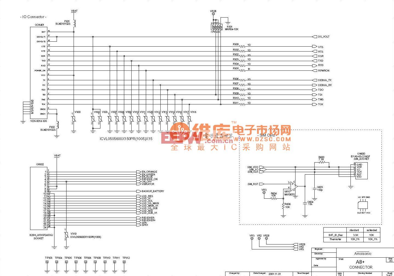 夏新A8+-IO口-SIM卡电路原理图