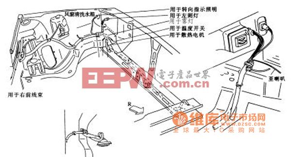 桑塔纳2000轿车的发动机室左侧线束布置电路图高清图片