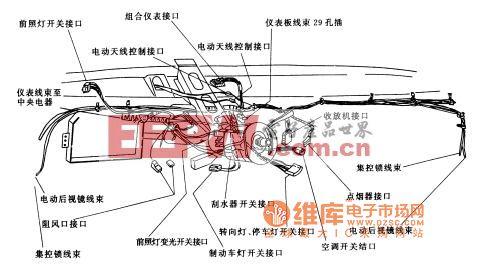 桑塔纳2000轿车的仪表板线束布置电路图高清图片