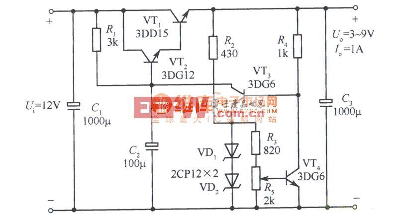 取样比为l的3~9V可调稳压电源电路图